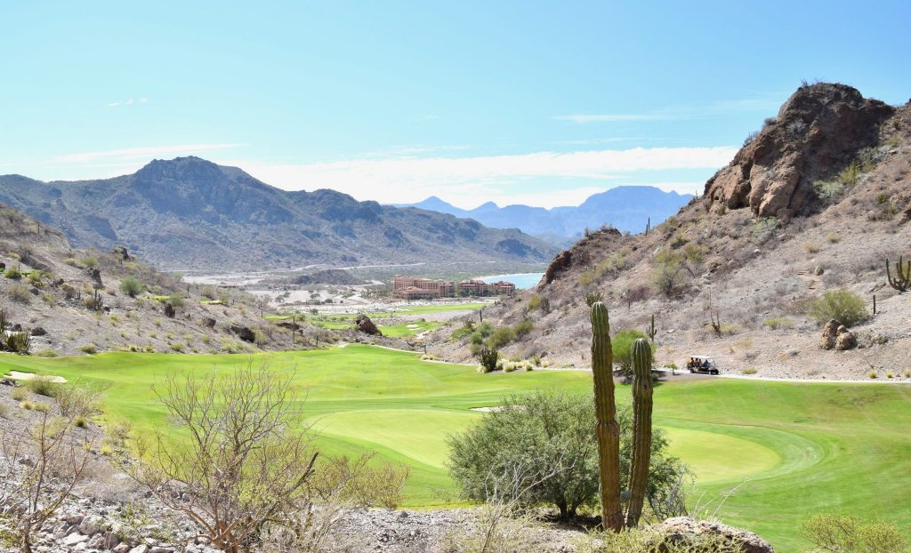 Danzante Bay Golf Course with Villa Del Palmar Resort in the distance, Loreto, Mexico