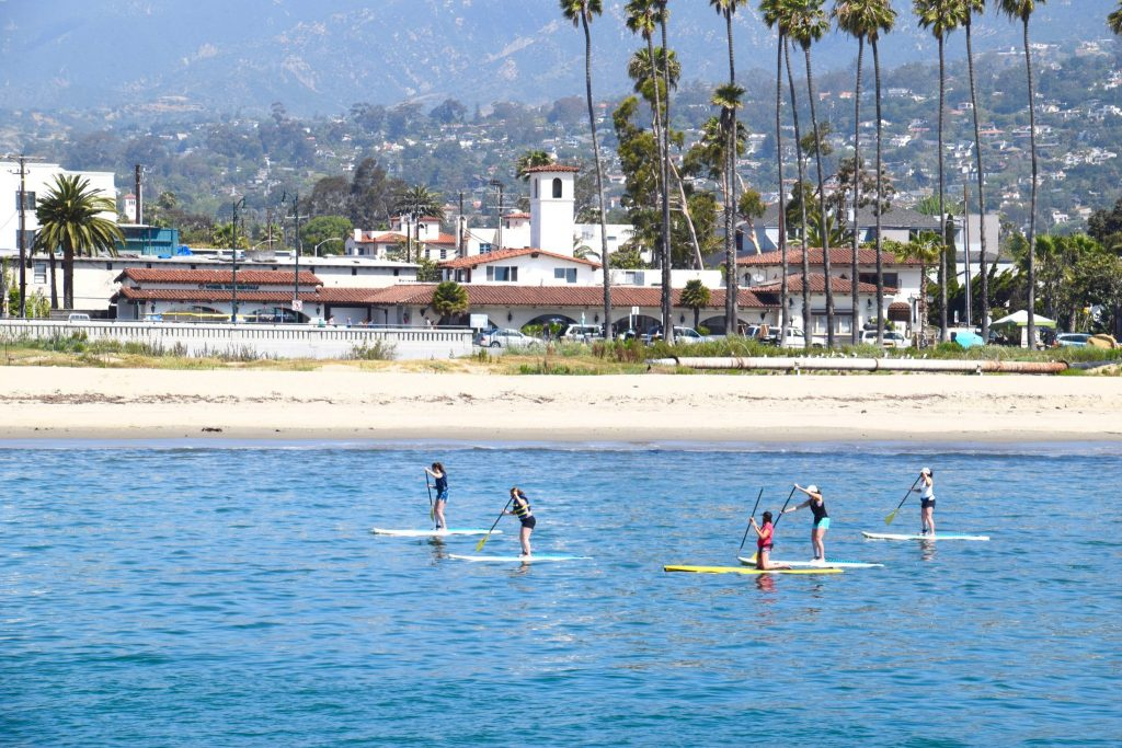 stand up paddle boards near Stearns Wharf in Santa Barbara, CA