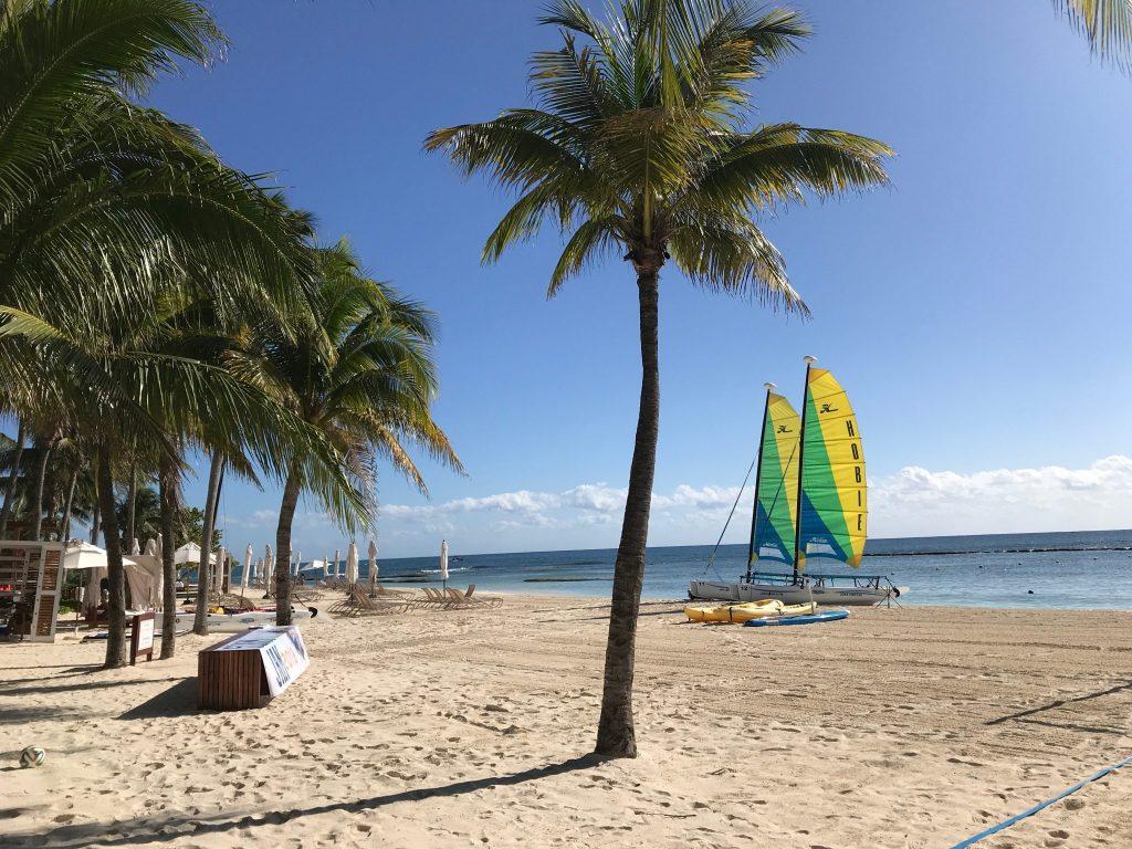 beach and sailboats at Grand Velas Riviera Maya Resort, Mexico