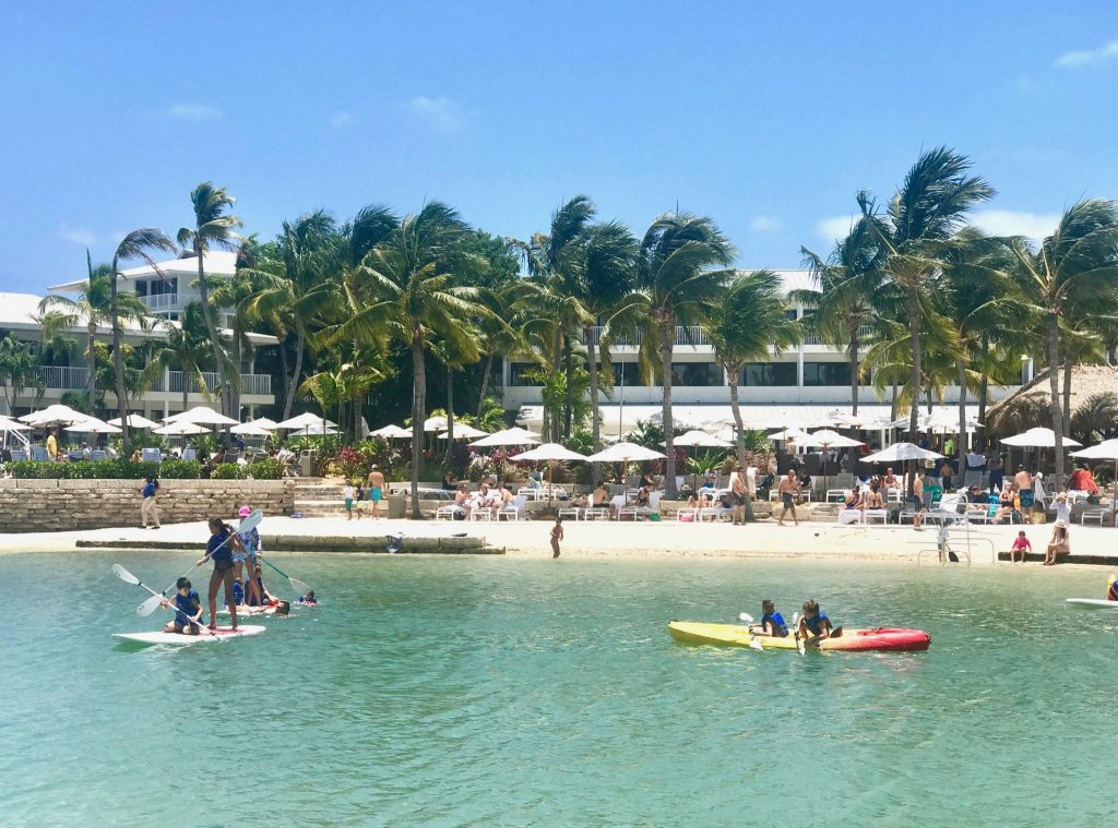 families playing in the lagoon at Hawk's Cay Resort in the Florida Keys, Florida