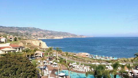 Terranea Resort & Spa pool view with coastline beyond