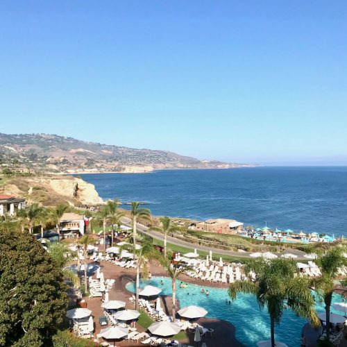 Terranea Resort & Spa pool view with coastline beyond