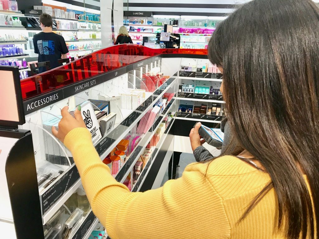 girl shopping for makeup at Sephora