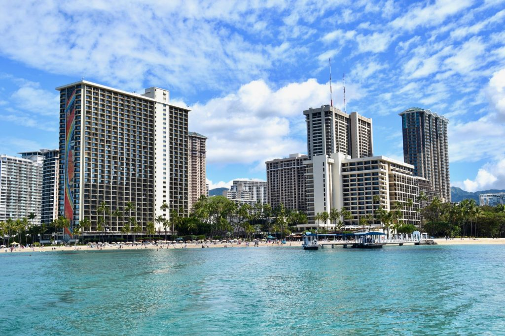 Hilton Hawaiian Village from Waikiki Bay
