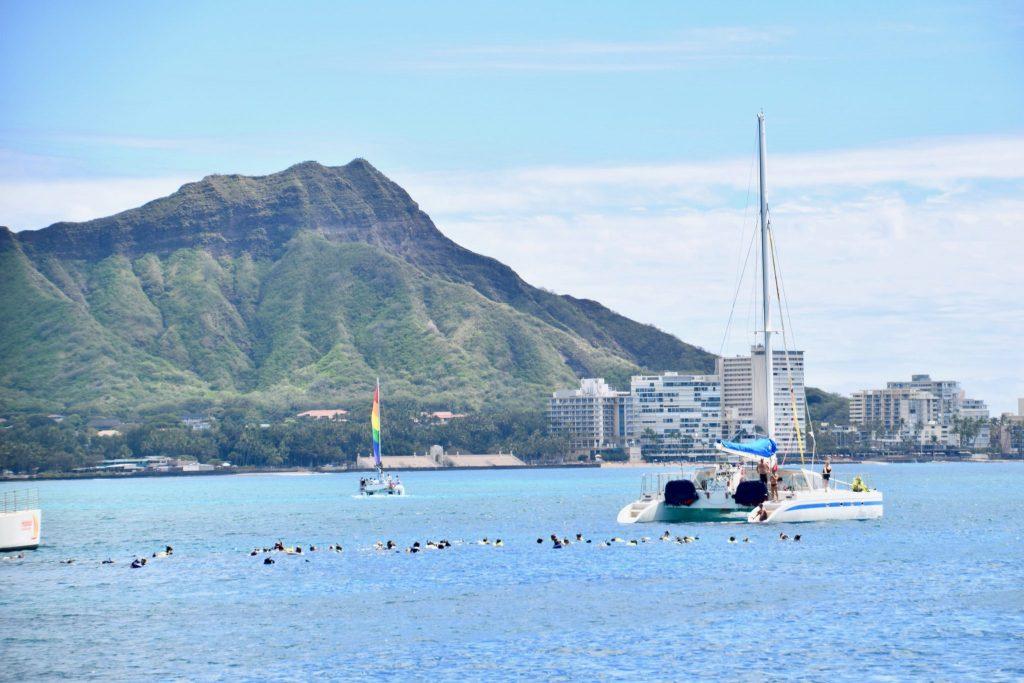 Diamond Head with catamaran in Waikiki, Honolulu, Oahu, Hawaii