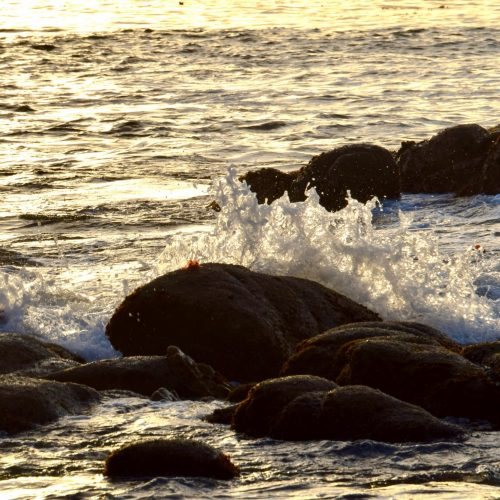 waves splash on rocks at Cannery Row, Monterey, California
