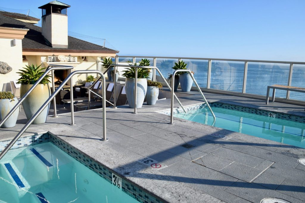 rooftop hot tubs with ocean views at Monterey Plaza Hotel & Spa, Monterey, California