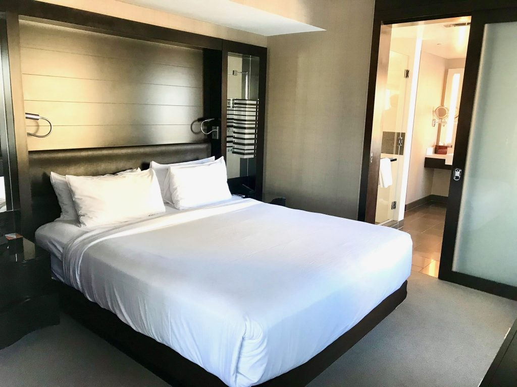master bedroom with king bed at Vdara Hotel Las Vegas