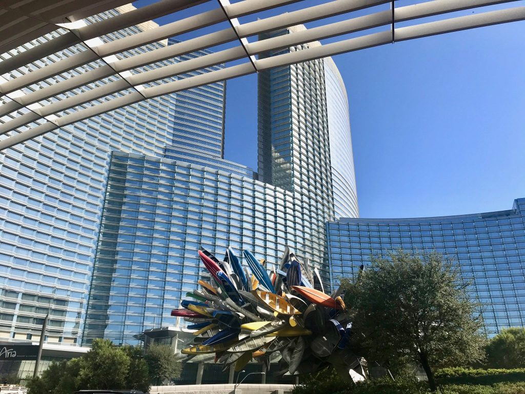 Aria Hotel as seen from front entrance of Vdara Hotel, Las Vegas