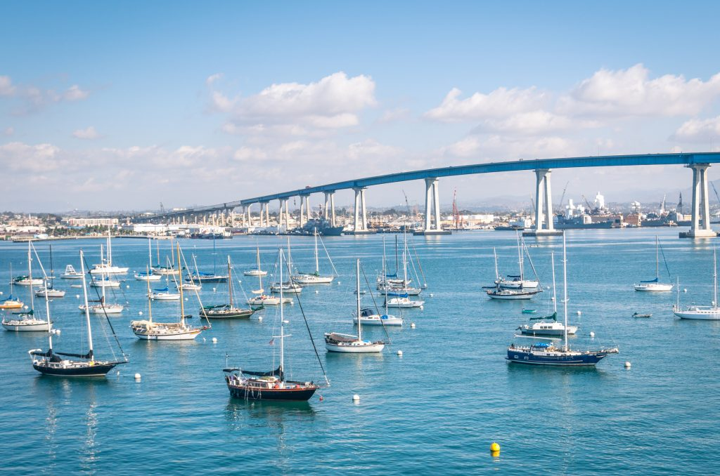San Diego waterfront with sailing Boats - harbor and Coronado Bridge