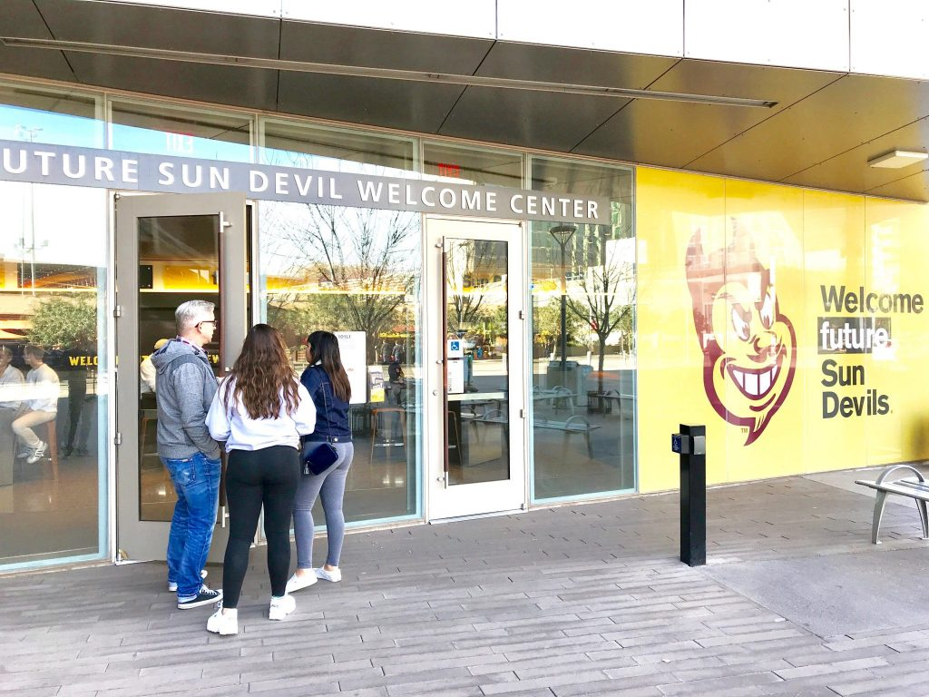 students entering Arizona State University welcome center