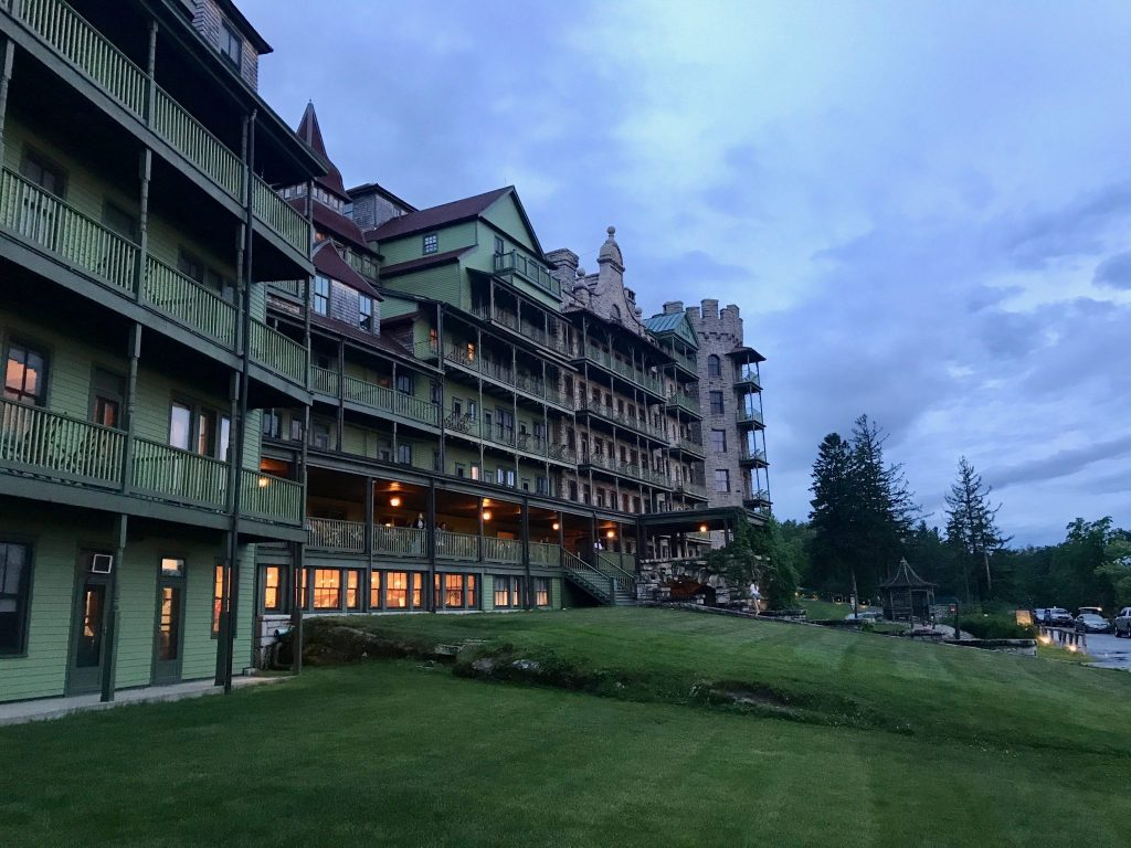 Mohonk Mountain House front facade at dusk