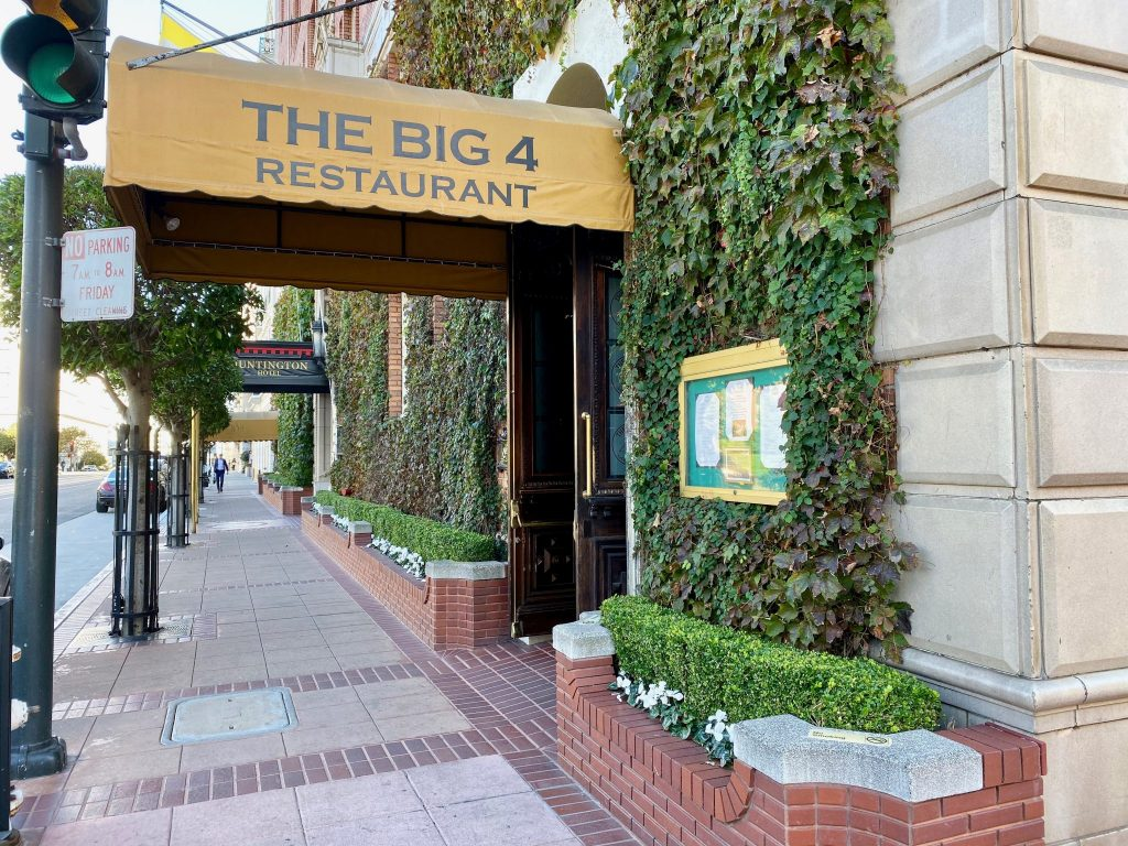 California Street entrance to the Big 4 Restaurant at Huntington Hotel, San Francisco
