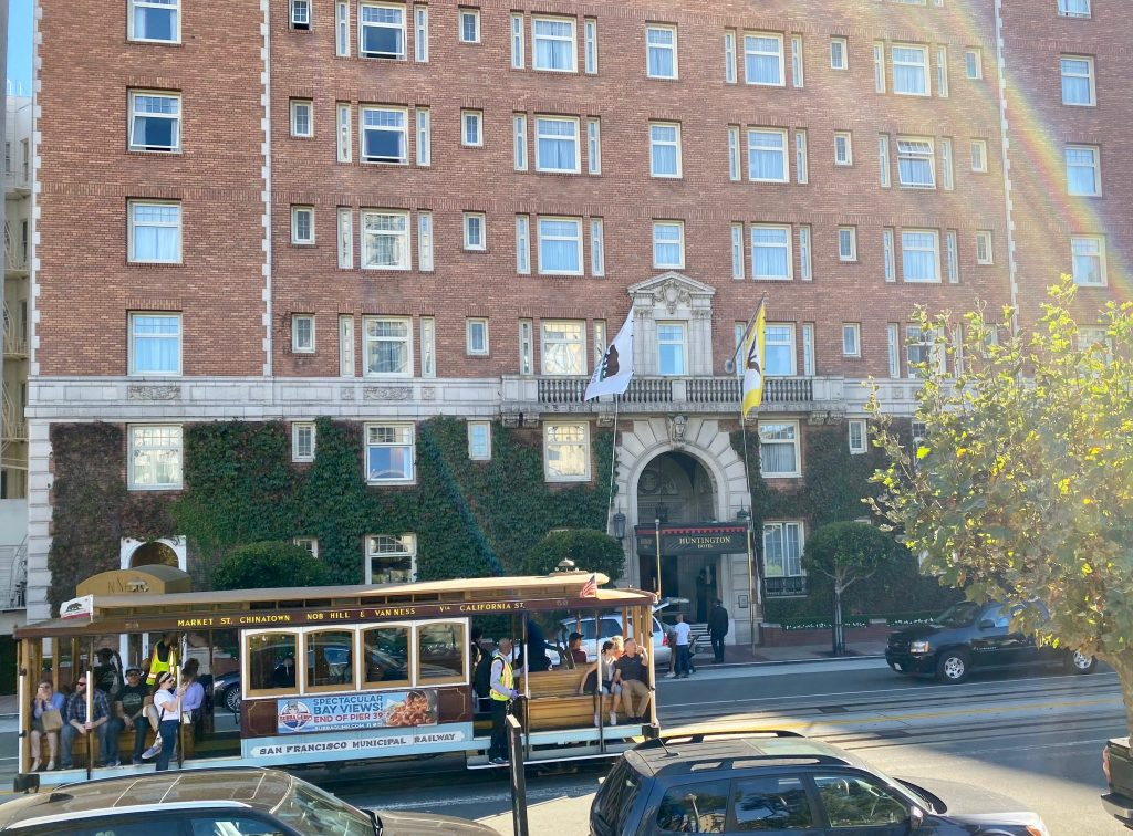 Huntington Hotel with cable car, San Francisco