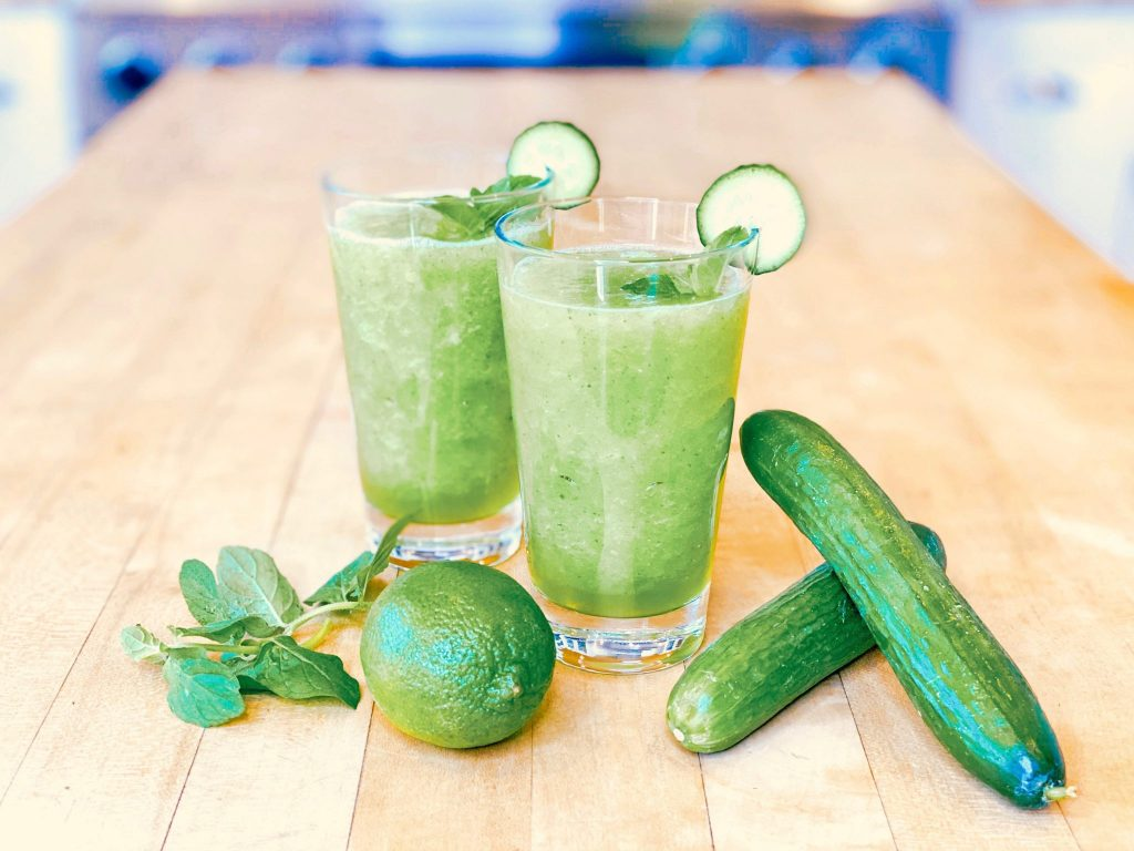 Cucumber and Lime Smoothie with Agave Nectar and mint