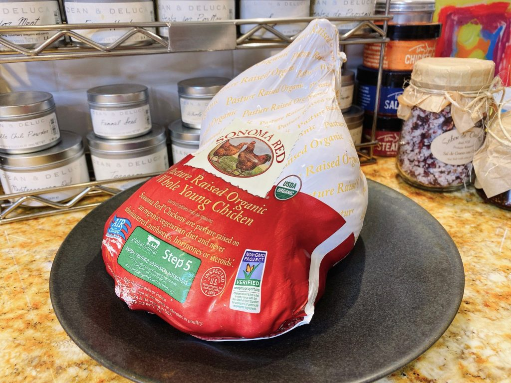 Whole Sonoma Red Organic Chicken in Packaging