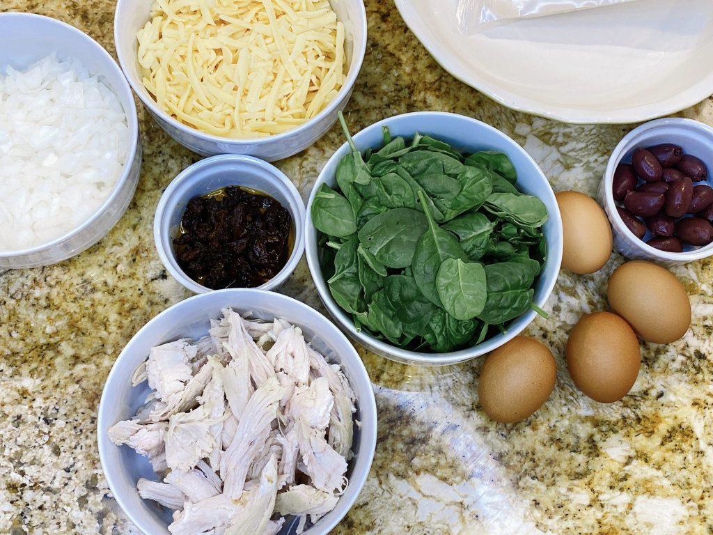 Freshly prepared ingredients to make Mediterrenean Chicken Quiche