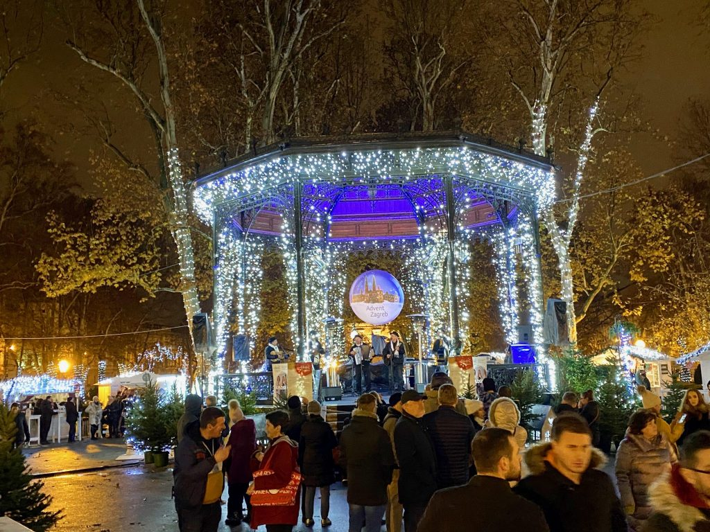 Advent Market with Gazebo and traditional Croatian music at Zagreb Advent Markets, Croatia