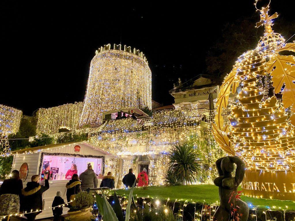 Trsat Castle with Christmas lights, Rijeka, Croatia