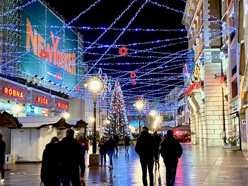 Walking along the Korzo Promenade in Rijeka, Croatia at Christmas time