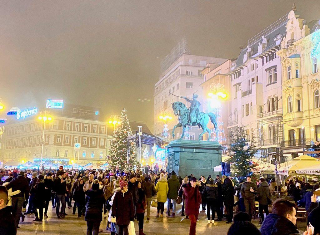 Advent Market crowds in Jelacic Square, Zagreb, Croatia