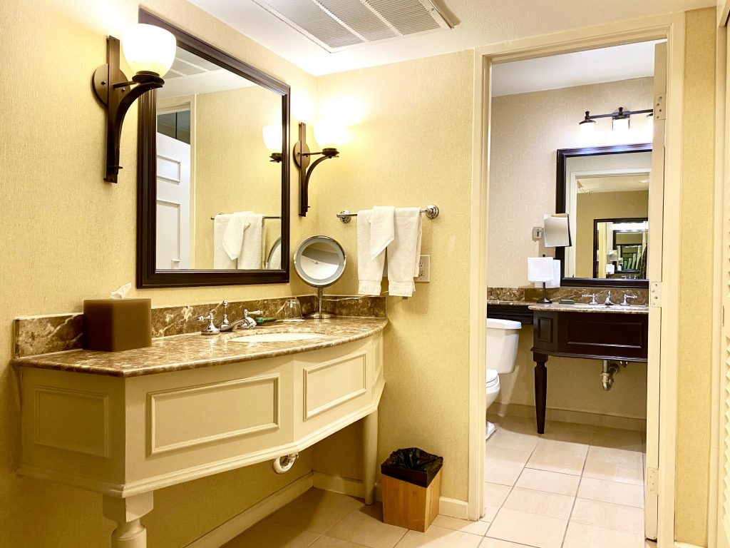 bathroom area in junior suite at Miramonte Resort & Spa, Indian Wells, CA