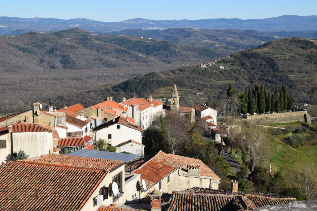 view of Motovun Forest from Village of Motovun, Istria, Croatia