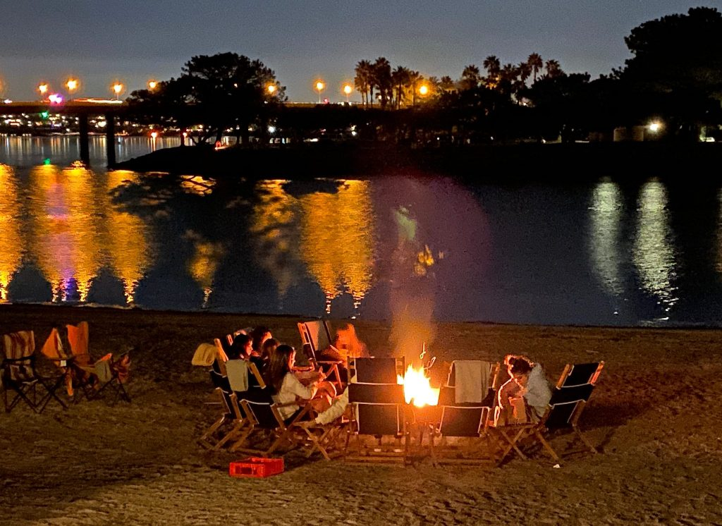 beach fire pit and marshmallow roast on San Diego Bay, CA