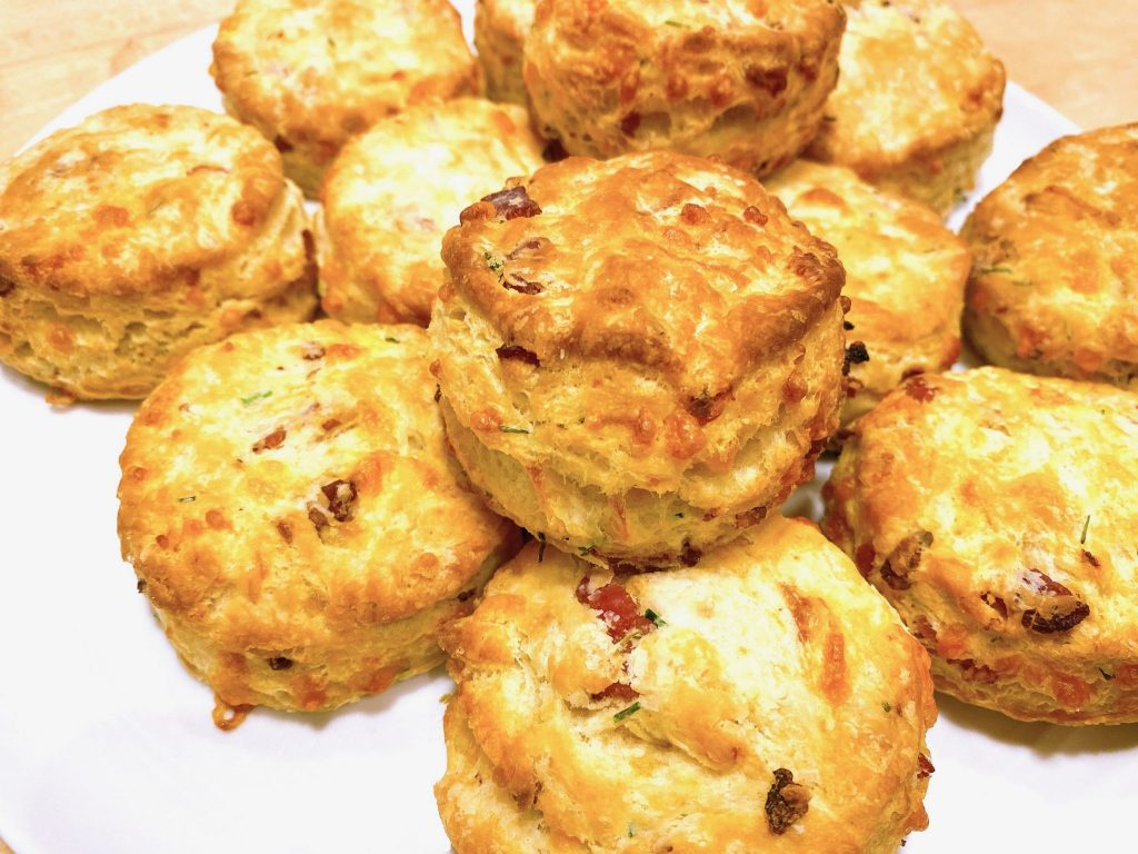 plate of bacon cheddar chive biscuits
