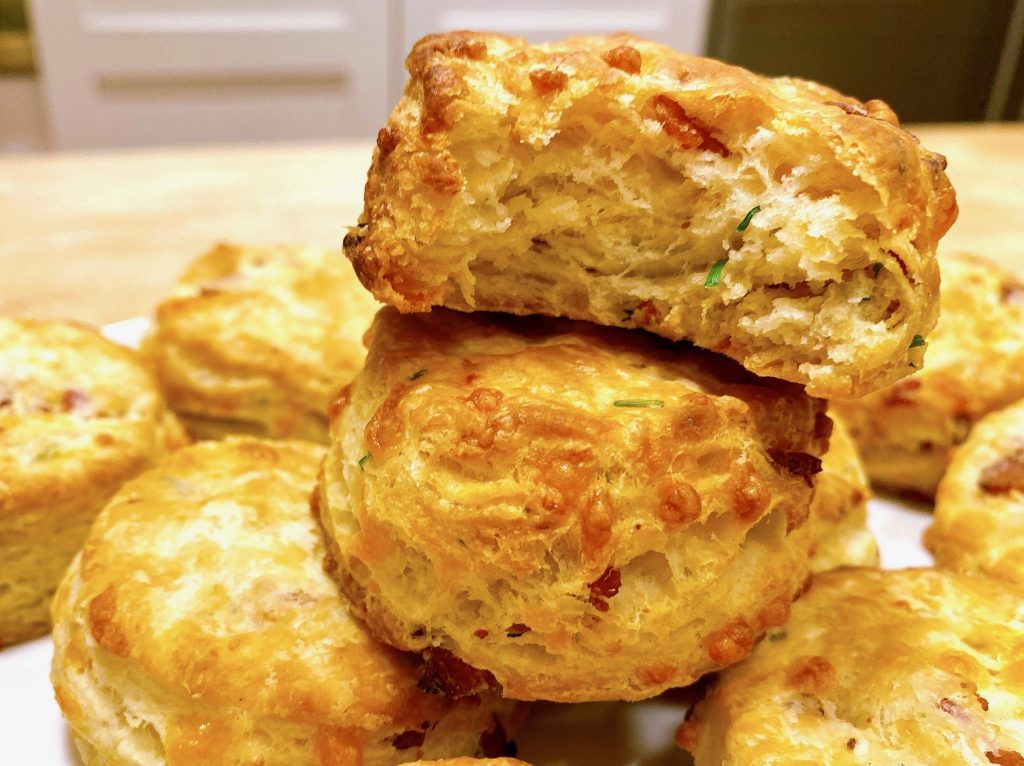 bacon cheddar biscuit with bite