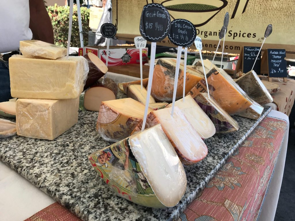 cheese selections at Little Italy Mercato Farmers Market in San Diego, CA