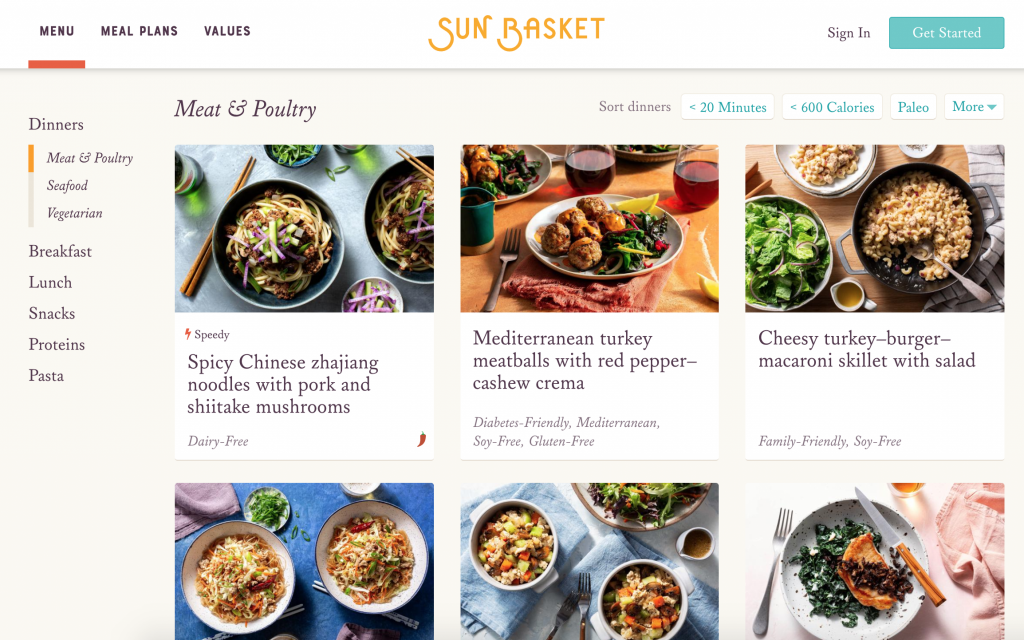 Sun Basket menu choices