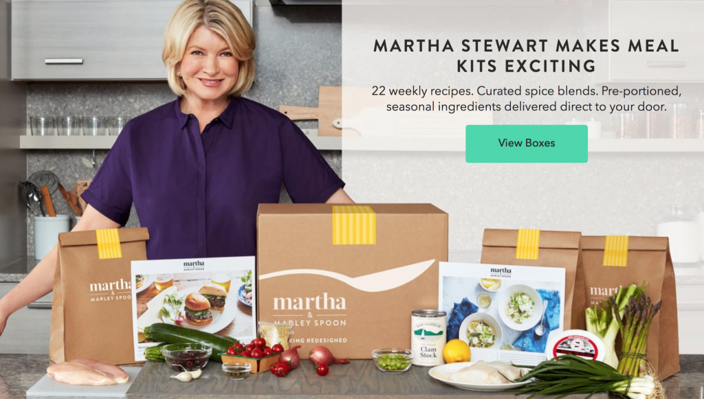 Martha Stewart and Marley Spoon meal kit delivery service