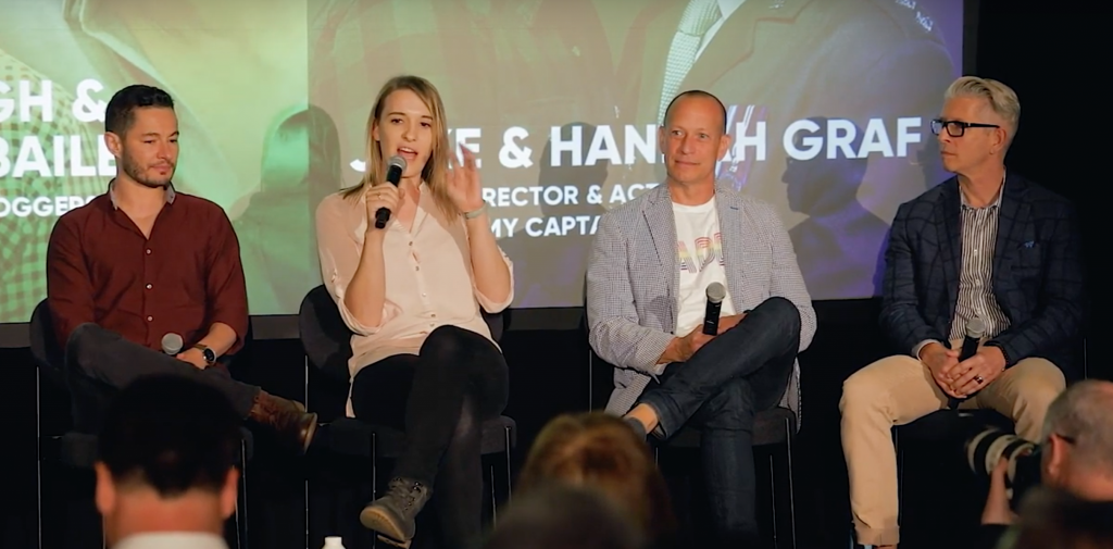 Jake & Hannah Graf, Jon Bailey and Triton Klugh share the stage at Proud Experiences 2019 in Brooklyn, New York
