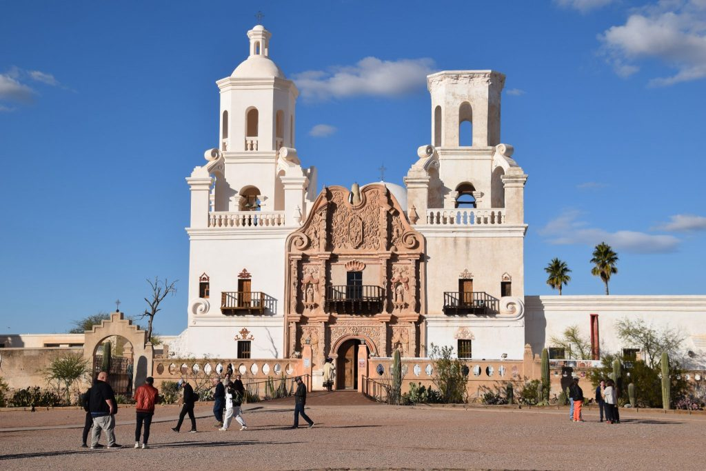 Front of Mission San Xavier del Bac in Tucson, Arizona