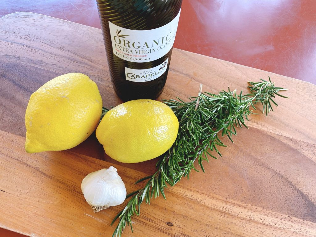 lemons, garlic, fresh rosemary and organic extra virgin olive oil
