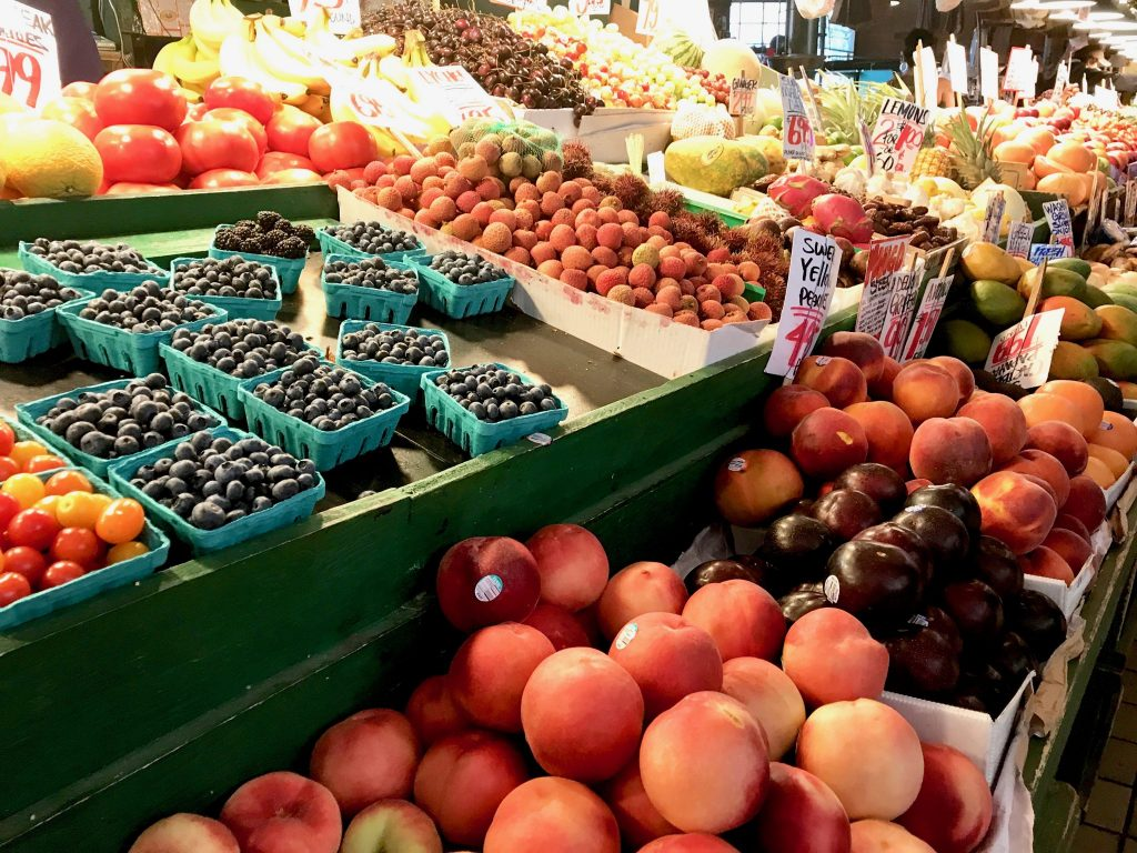 fresh fruit and produce stand at Pike Market in Seattle