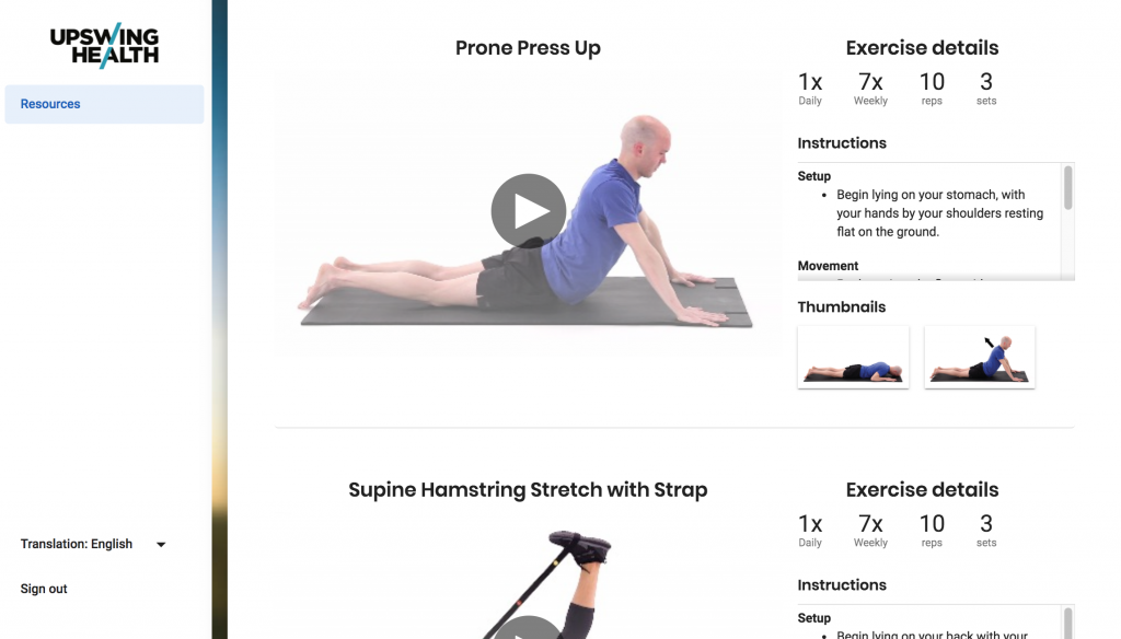 Exercises from online programs customized by Upswing Health