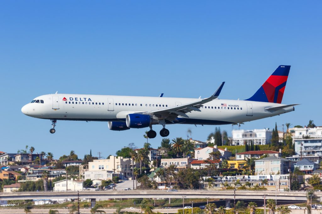 San Diego, California – April 13, 2019: Delta Air Lines Airbus A321 airplane at San Diego airport (SAN) in the United States.