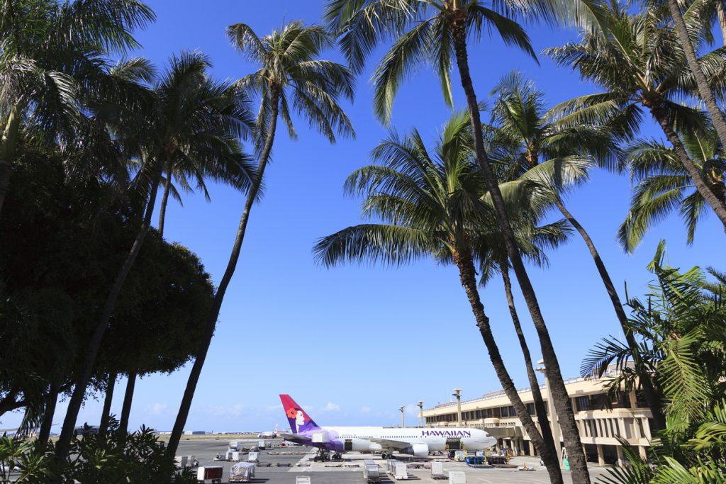 Honolulu, HI, USA - June 1, 2017: Airplane of Hawaiian Airlines: Airplane of Hawaiian Airlines stops in Daniel K. Inouye International Airport.