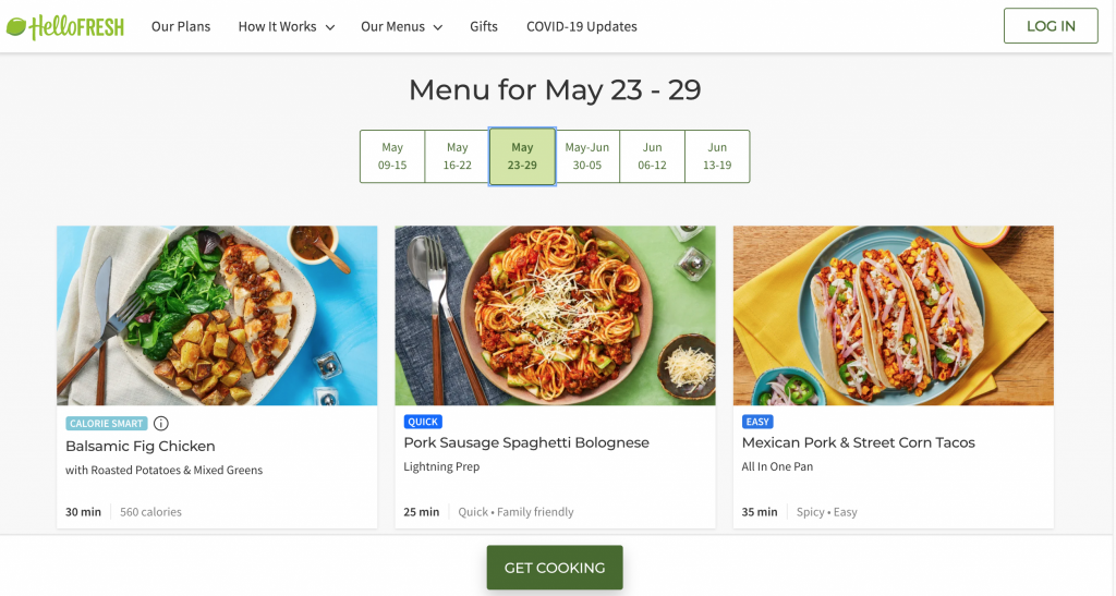 screenshot from Hello Fresh website with menu options