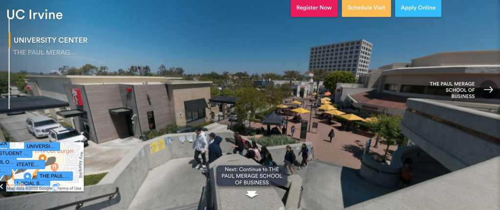 screenshot of UC Irvine virtual tour website