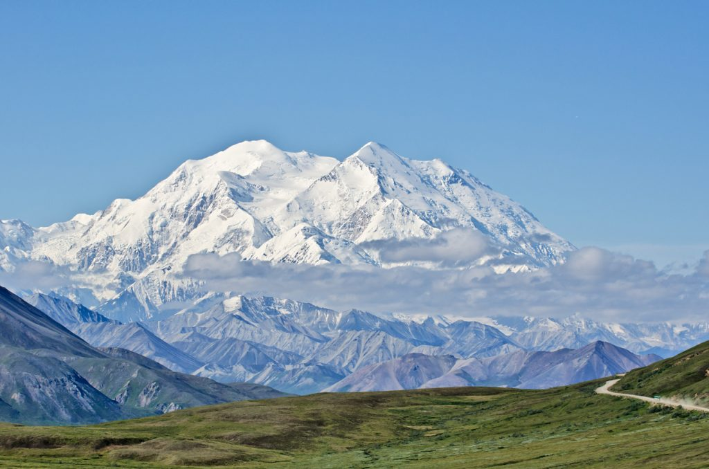 View of Mount McKinley in Denali National Park, Alaska, with Park Road in the foreground leading to it