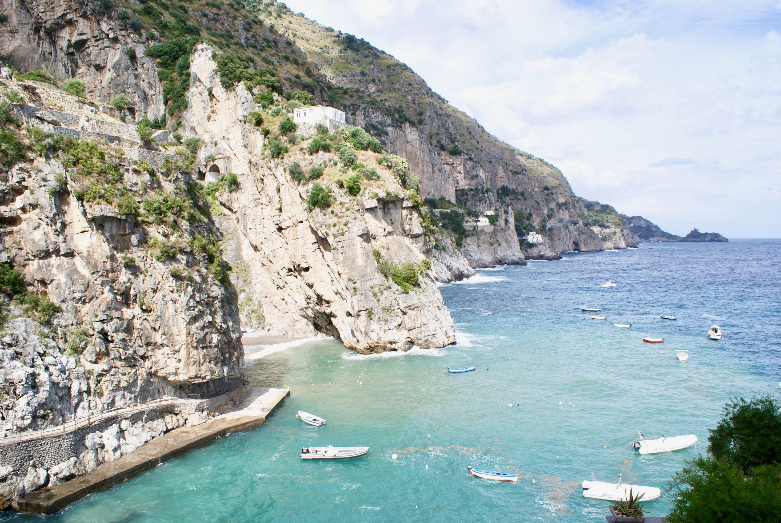 The Amalfi Coast of Italy, taken looking south across blue ocean waters