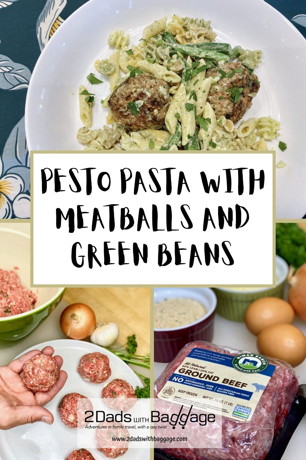 Pesto pasta with meatballs and green beans