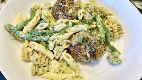 Green bean and meatball pasta recipe
