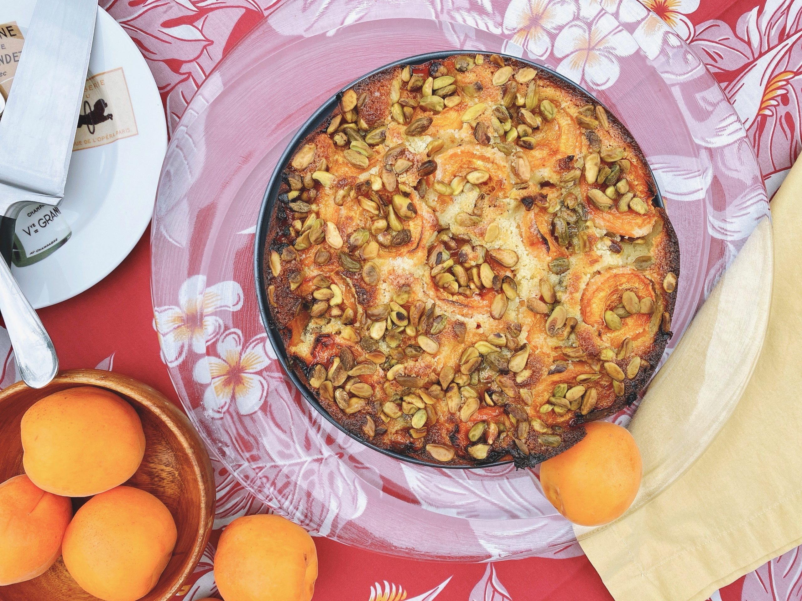 Overhead shot of Apricot Pistachio Cake in baking pan ready to serve