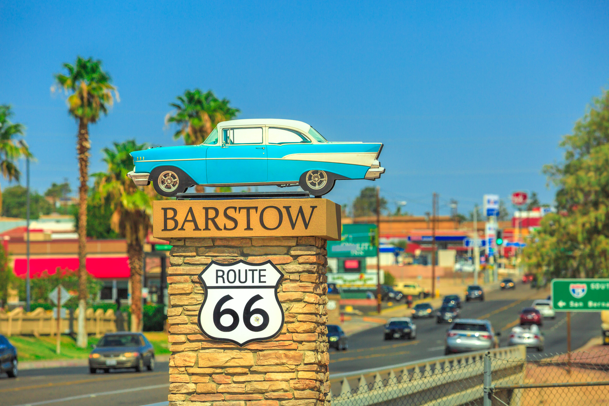 Barstow, California, United States - August 15, 2018: Barstow Sign on Route 66 on entrance of the city Main Street. Barstow is an important crossroads between Los Angels and Las Vegas.