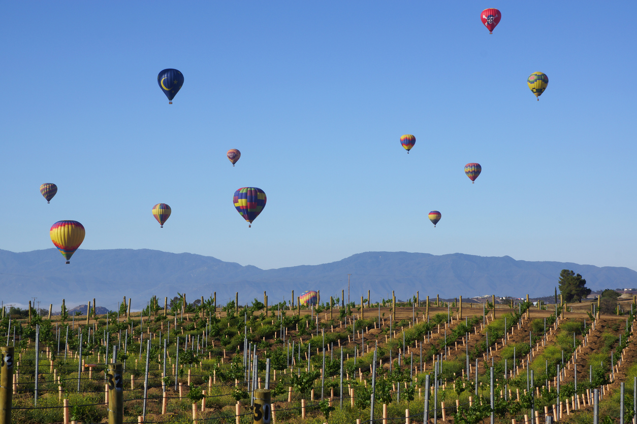 Temecula, California,USA- May 31, 2015. Colorful hot air balloons soar over the Temecula wine country at the 2015 Temecula Balloon and Wine Festival. The Temecula Balloon and Wine Festival takes place in the spring at Lake Skinner in the Temecula wine country about 2 hours from Los Angeles.