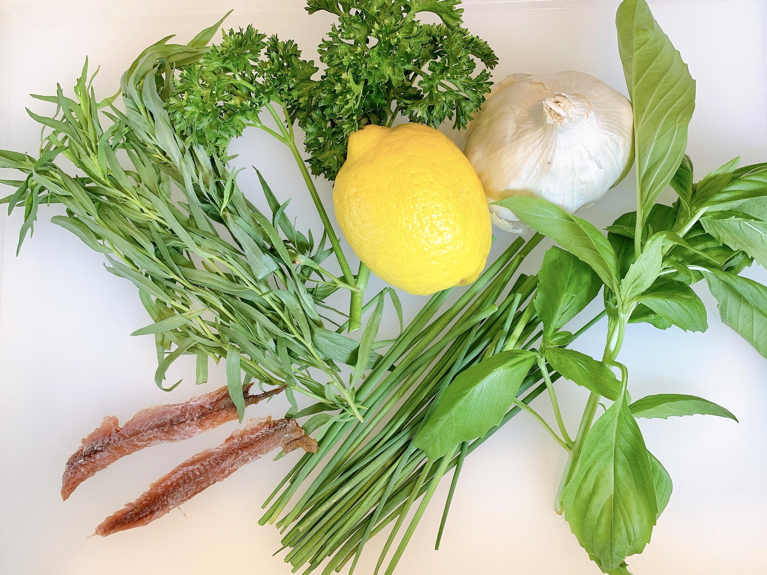 Fresh ingredients for Green Goddess Dressing